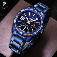 NAVIFORCE erkek saati mavi kadran paslanmaz çelik su geçirmez erkek saatler lüks iş Analog kuvars erkek saatler moda