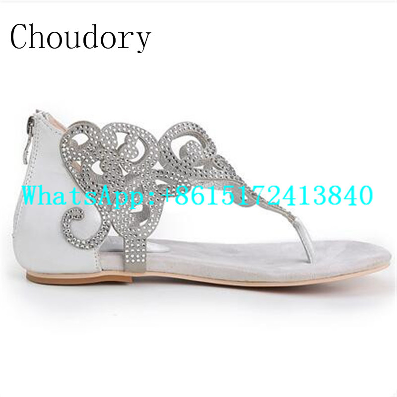Choudory Casual Flat Solid Transparency Crystal Shoes Women String Besd Totem New Fashion Comfortable Gladiator Women Sandals