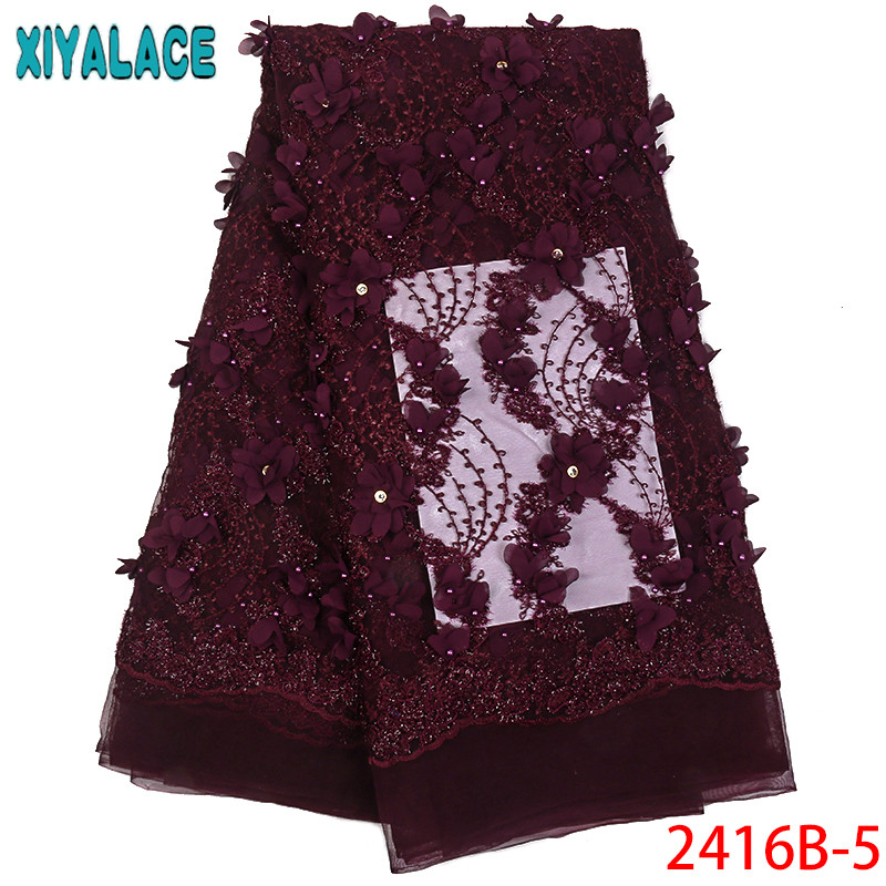 Aubergine French Tulle Lace Fabrics With Beads Nigerian 3D Appliqued Flowers Net Tulle Lace Fabric For