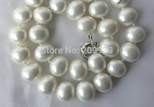 AA 004156 sbalorditivo grande 15mm barocco bianco south sea shell pearl necklace(China)