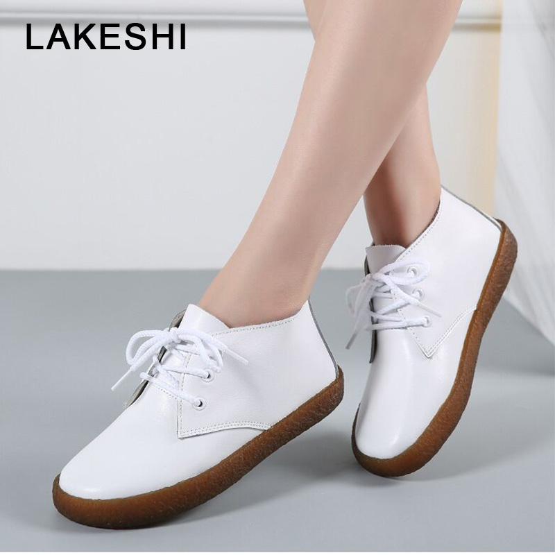 2019 New Women Flats Shoes Genuine Leather Slip On Ladies Shoes Moccasins Casual Shoes Female Summer Loafer Shoes Women Flats