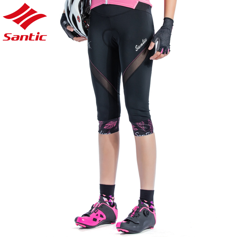 Santic Bike Shorts Women Downhill Shorts With Italy Sponge Pad Breathable Cycling Shorts For Mountain Bike Bicycle Cycle stylish mid waist cuffed denim ripped shorts for women