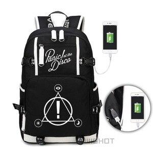 Image 2 - WISHOT Panic ที่ Disco กระเป๋าเป้สะพายหลัง multifunction USB ชาร์จกระเป๋าสำหรับวัยรุ่น Boys Girls School กระเป๋าส่องสว่าง