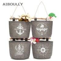 4Pcs Set Wall Hanging Storage Bag Organizer Navy Anchor Fabric Cotton Pocket Hanging Holder For Kitchen