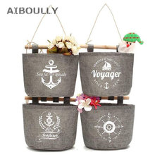 4pcs Set Wall Hanging Storage Bag Organizer Navy Anchor Fabric Cotton Pocket Holder For Kitchen Bathroom Living Room