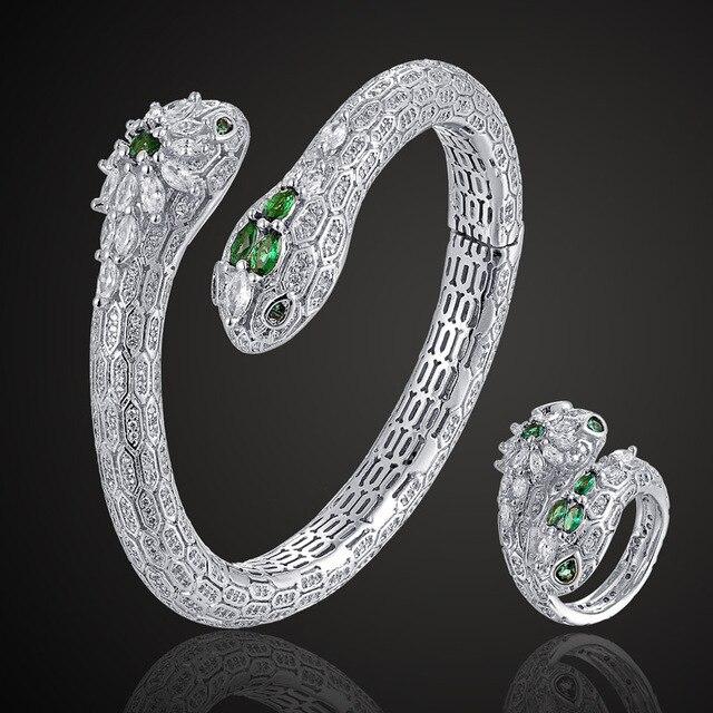 Zlxgirl Luxury brand Guangdong big women size Green Eye Snake copper bangle  jewelry sets fashion women party couple jewelry set