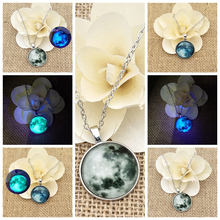 Fashion Women and Girls Starry Night Glow Necklace Pendant Sweater Chain Moon Wholesale
