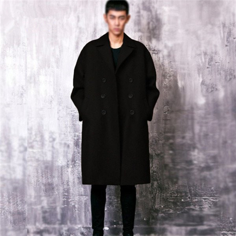 S-5XL!!!2017 Winter male wool coat fashion double breasted medium-long woolen outerwear medium-long wool trench mantissas
