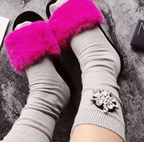 Новые Прибыл Мода Жемчужина Хлопок Конфеты Цветные Носки Дамской одежды Зимние Носки
