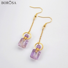 BOROSA 3Pairs Fashion Perfume Bottle Shape Natural Amethysts Drop Earrings Scent-bottle Gems Women Earring as Gifts WX1169