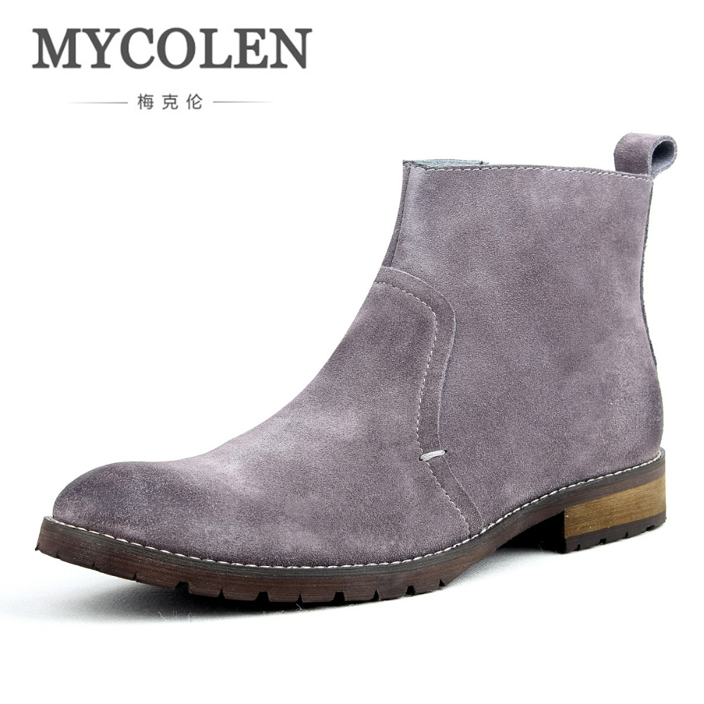 MYCOLEN Men Suede Boots Luxury Designer Low Heel Leather Ankle Boots Handmade Vintage Sewing Thread Britain Men'S Shoes Winter mycolen men boots genuine suede comfort leather sewing minimalist design black thread men ankle boots leather male shoes adult