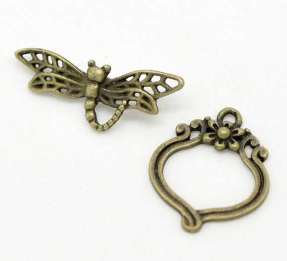 DoreenBeads Zinc Metal Alloy Toggle Clasps Dragonfly Antique Bronze 29mm X11mm(1 1/8