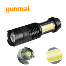 yunmai NEW Q5+COB 3800lm Led Flashlight Aluminum Waterproof Zoom Portable Mini Torch aa 14500 Battery Lampe Touche Linternas 3800lm xml q5 cob powerful rechargeable led torch mini pocket flashlight led rechargeable use aa 14500 battery waterproof