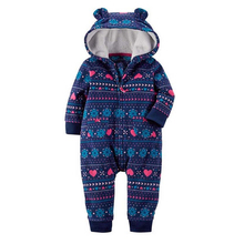between autumn and winter baby boy clothes suits fleece clothing for infant one piece baby girl clothes sliders with hood