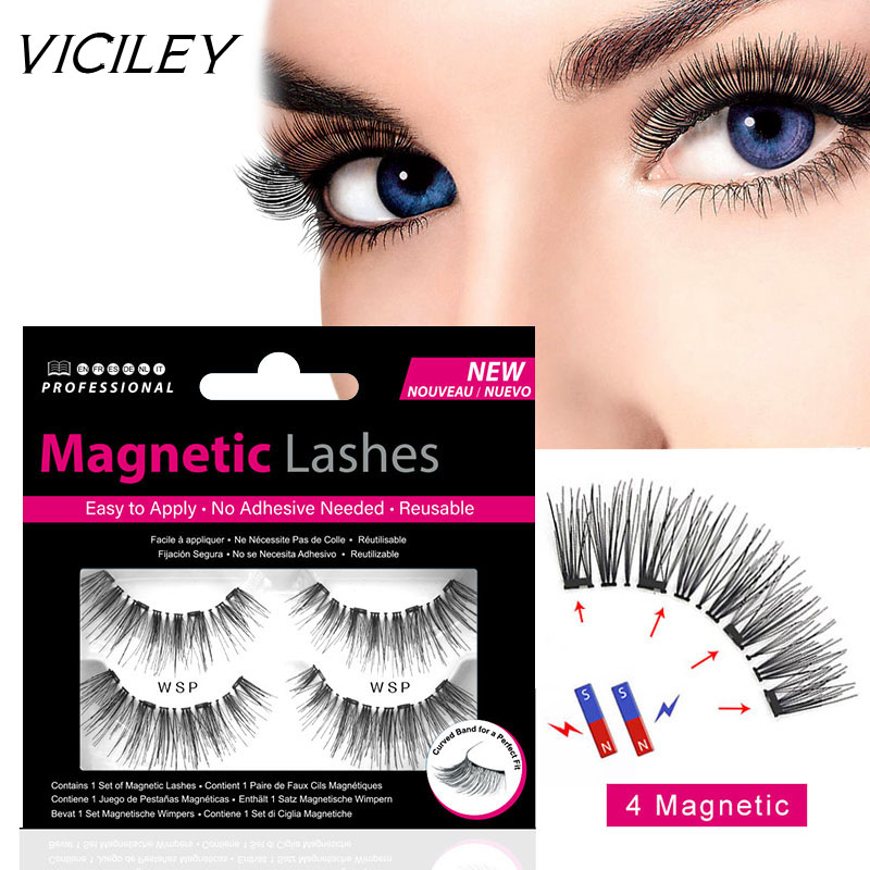 VICILEY Magnetic eyelashes with 4 magnets handmade 3D/6D magnetic lashes natural false eyelash magnet lash with gift box-WSP