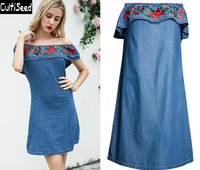 Cultiseed 2019 Female Sexy Slash Neck Strapless Jeans Dress Clothes Women Floral Embroidery Straight Dress Laids Party Dresses