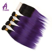 Alimice Ombre Malaysia Straight Hair 2 3 4Bundles With Lace Closure T1B/Purple 2 Tone Human Hair Weave Bundle With Closure Remy(China)