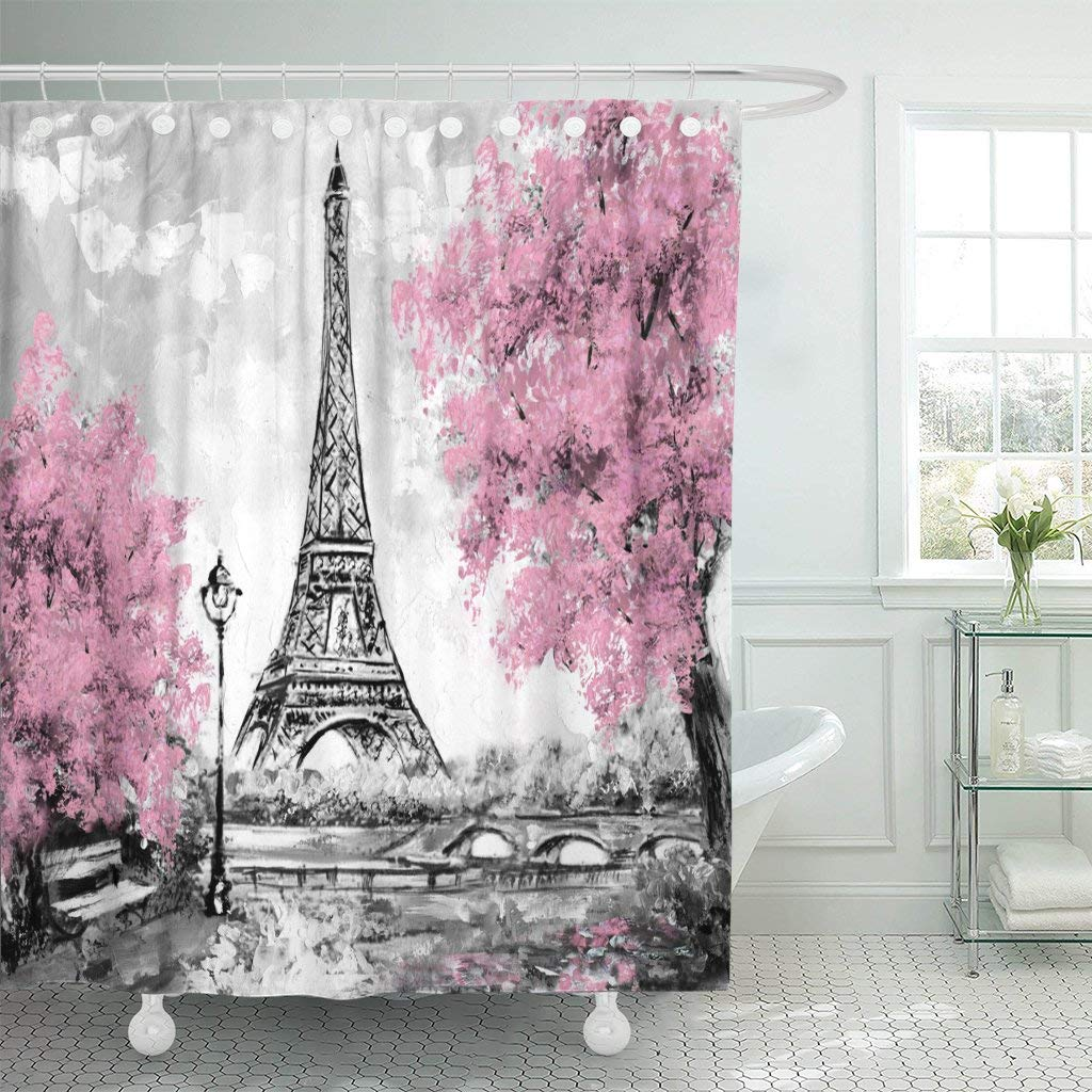 Detail Feedback Questions About Waterproof Shower Curtain Curtains Oil Painting Paris European City Landscape France Tower Black White And Pink Extra Long