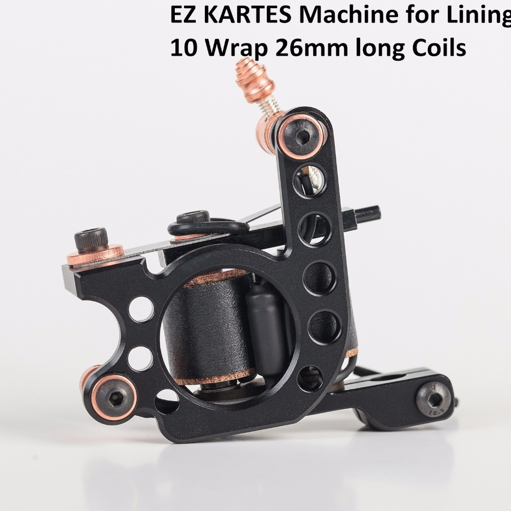 EZ KARTES Handmade Premium Coil Tattoo Machine 10 Wrap Long Coils for Liner Shader Iron frame Tattoo Gun Machine недорого