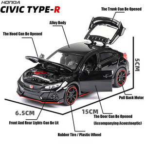 Image 2 - 1:32 HONDA CIVIC TYPE R Diecasts & Toy Vehicles Metal Car Model Sound Light Collection Car Toys For Children Christmas Gift