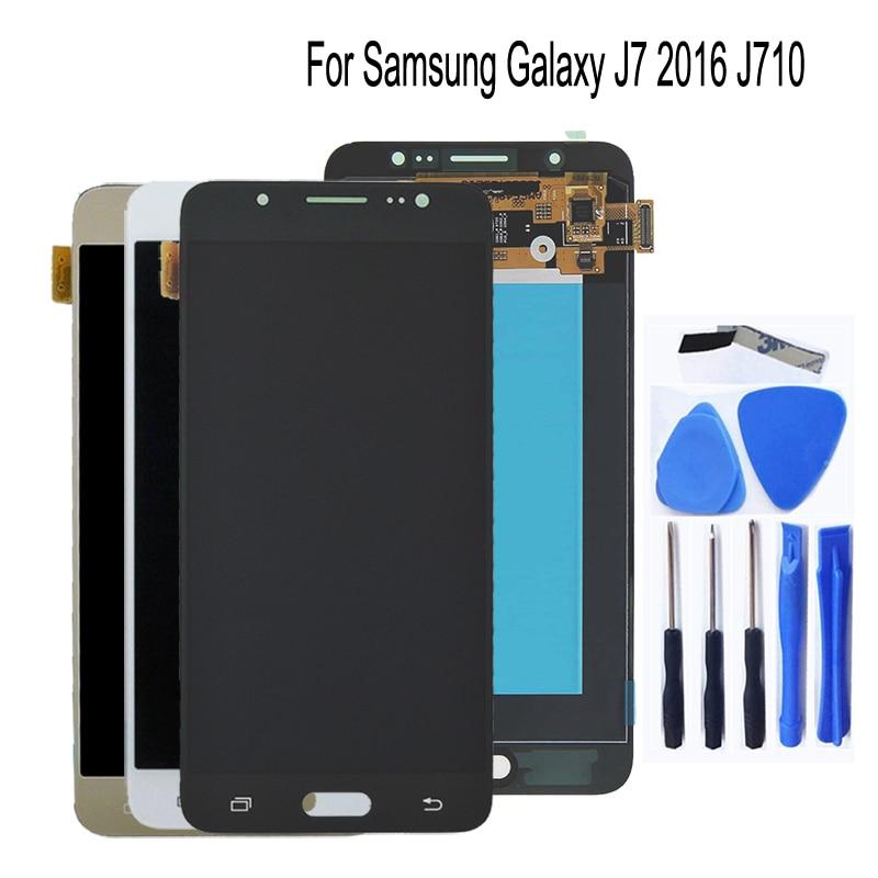 5.5AMOLCD For SAMSUNG Galaxy J7 2016 J710 LCD Display Touch Screen J710F Repair kit+Free Tools