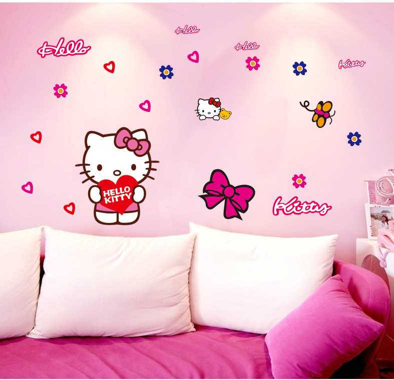 diy christmas gift hello kitty glass wall sticker holiday new year decoration decal removable mural deco home car sticker - Decoration Hello Kitty Chambre