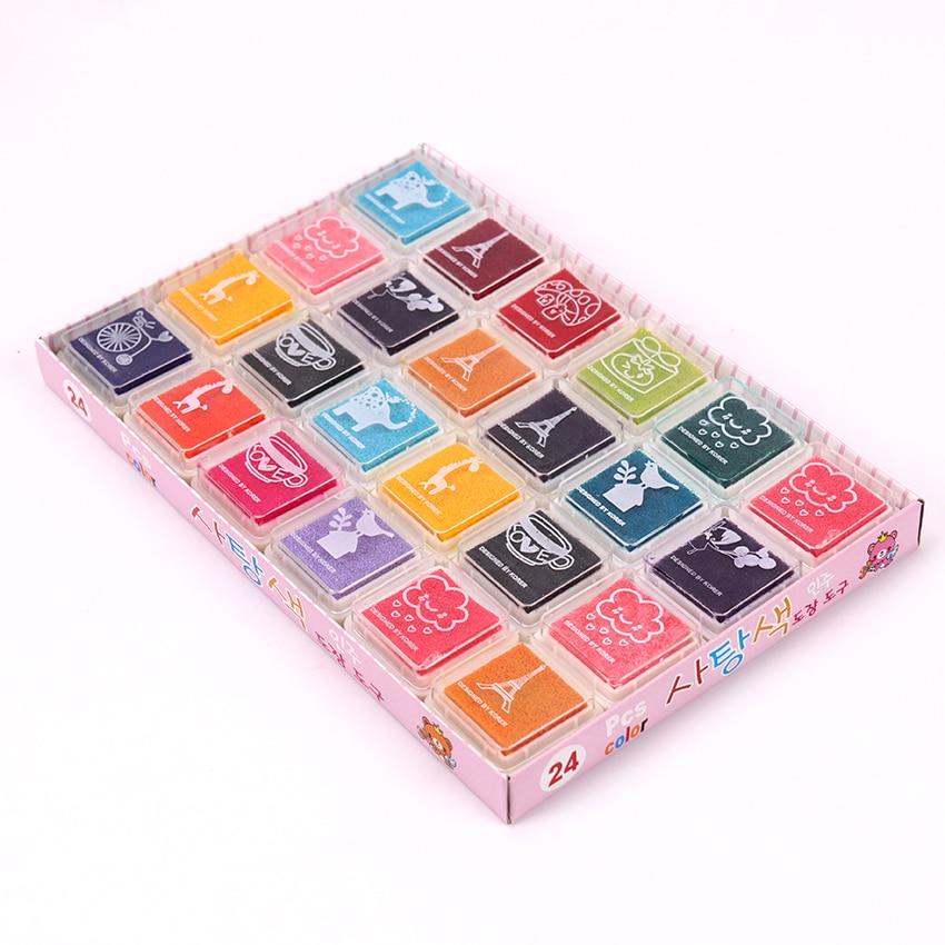 24PCS/Set Colorful Cute Ink Pad Kids DIY Fingerprint Painting Stationery Mud Homemade Vintage Crafts Ink Pad
