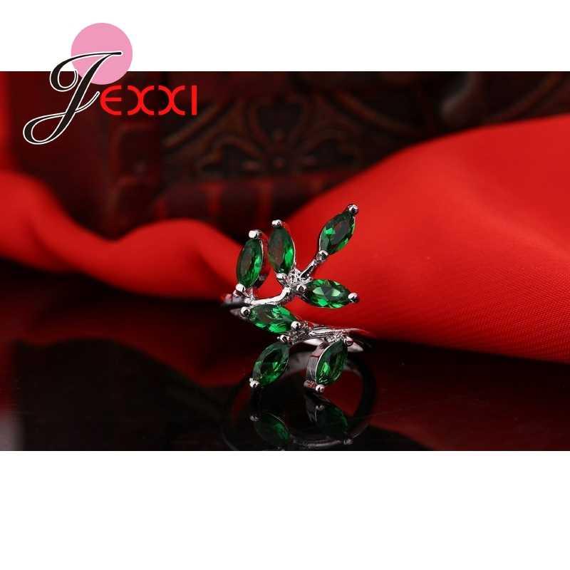 Модные милые свежие листья 925 пробы Серебряное кольцо с полностью зеленым натуральным кристаллом для женщин девушек вечерние ювелирные изделия аксессуары