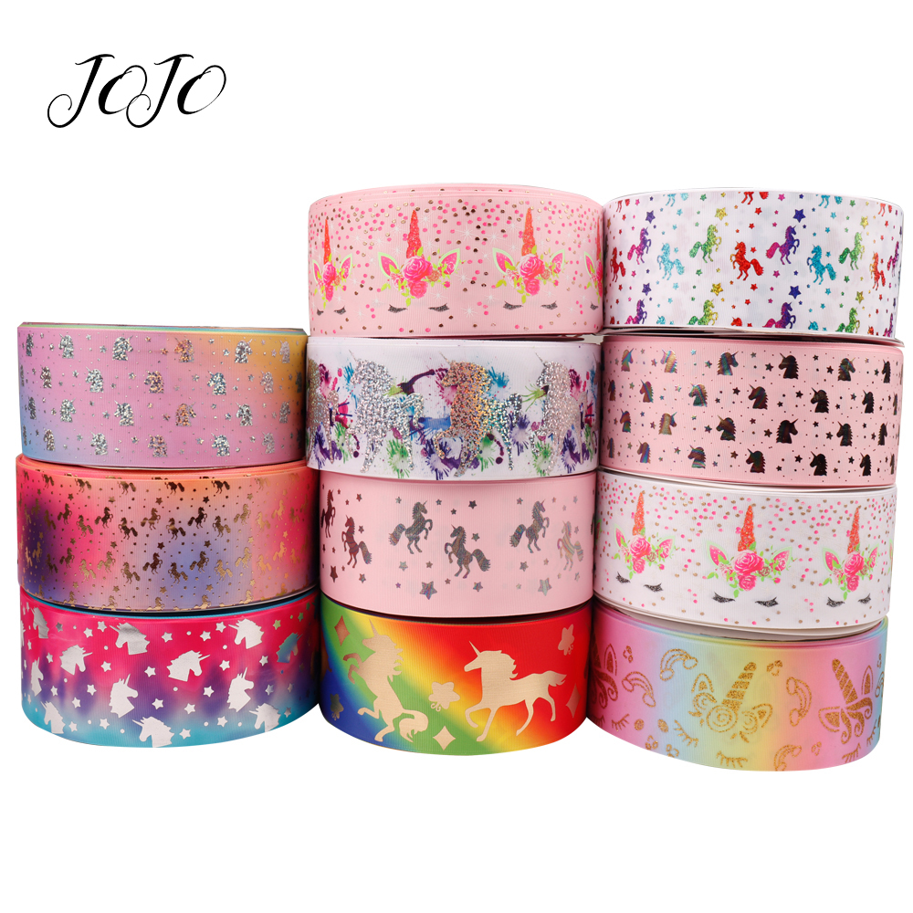 JOJO BOWS 75mm 2y Grosgrain Stain Ribbon For Craft Unicorn Bronzing Printed Webbing For Needlework DIY Hair Bows Tape Decoration in Ribbons from Home Garden