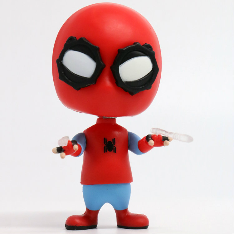 Spider Man Homecoming The Spiderman Bobble Head Q Version PVC Action Figure Collectible Model Toy 9cm