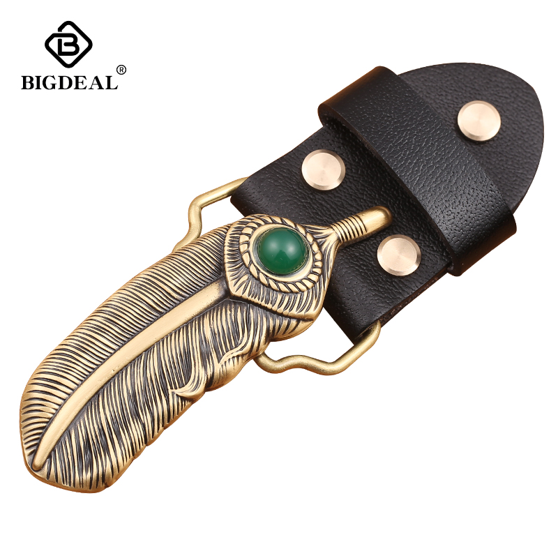 Retail New Style High Quality 3D Feathers Belt Buckle With 9*3cm 80g Solid Brass Man Woman Belt Head Jewelry For 4cm Wideth Belt