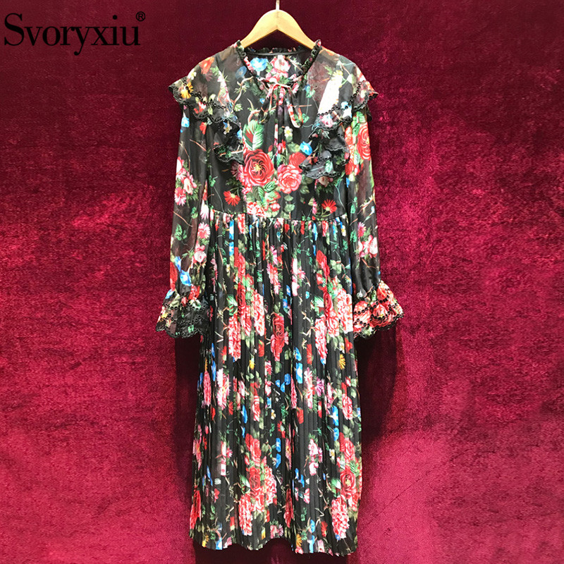 Svoryxiu Vintage Floral Print Beach Vacation Dress Women s Designer Brand Summer Cascading Ruffle Party Dresses