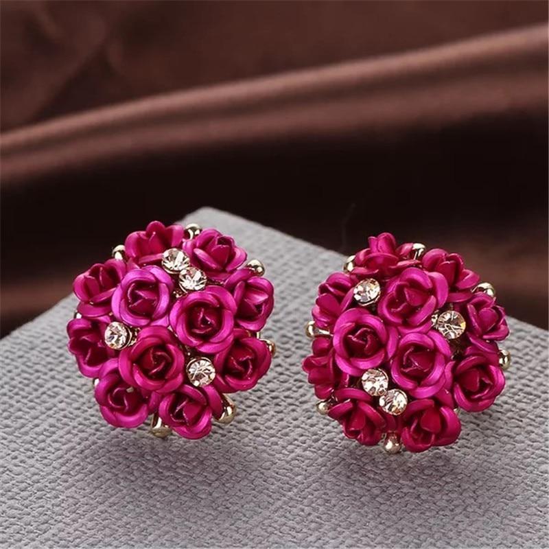 Wedding Flower Rhinestone Stud Earrings Blue Black Round Bouquet Crystal Earring for Women Blue Black Fashion Jewelry 2018