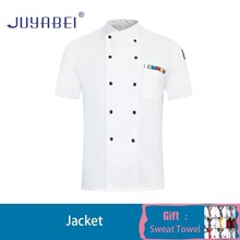 Double-breasted Short-sleeved Chef Uniform Summer Kitchen Hotel Cafeteria Hairdressers Salon Overalls Wholesale Free Scarf Gift