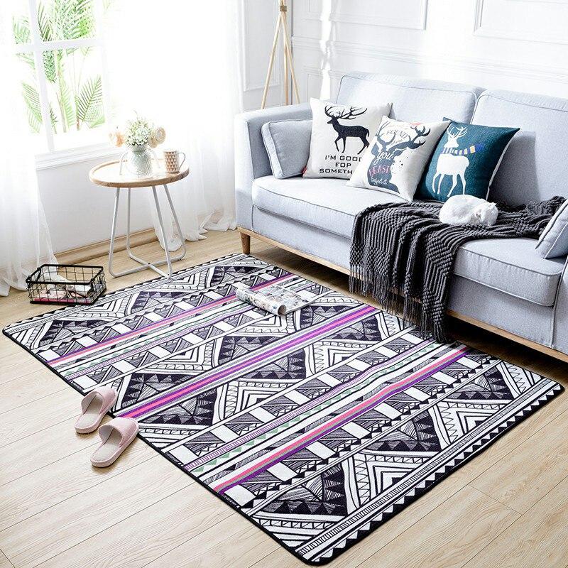 Klassischen Nationalen Stil Teppich Geometrische Bambus Schwarz Weiß  Nicht Slip Waschbar Durable Bereich Teppich Für
