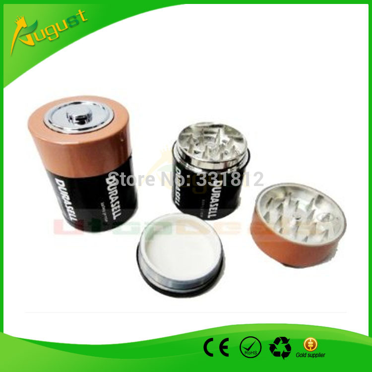 120pcs/lot Creative Battery Shaped Herbal Herb Tobacco Grinder Spice Pollen Crusher as cigarette accessary for men to somke