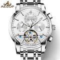 AESOP tourbillon watch men silver Stainless steel Automatic mechanical Sapphire waterproof date white watch relogio masculino