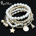 Multilayers Charms Fashion Imitation Pearl Pulseras Star Coin Effiel Tower Statement Bracelets & Bangles for Women Jewelry 2017