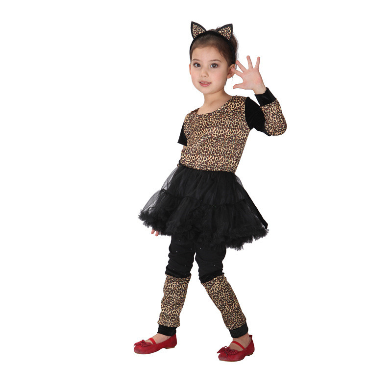 Kids Halloween Leopard Girls Cosplay  Costumes  Party Performance Fancy Dresses