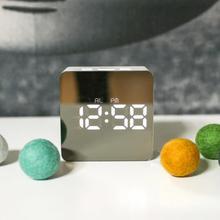 LanLan Multi-functional Mirror Electronic Alarm Clock Mini Bedside Clock Battery or Plug-in