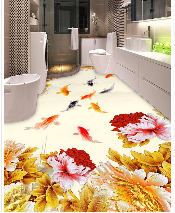 Custom Photo self-adhesive 3D floor fish PVC waterproof floor 3D wallpaper floor for living room
