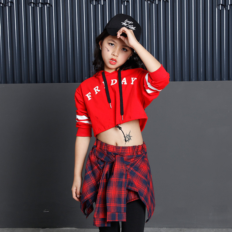 2019 Hight Street Red Black Child Jazz Dance Costumes Fashion Girls Crop Vest Top Shorts 3pcs Hip Hop Kids Jazz Street Dance Set