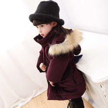 winter girls jacket children Fur collar bow hand plug of cotton coat kid Overcoat new