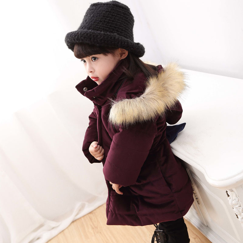 Kış kızlar ceket çocuk Kürk yaka yay el fiş pamuk kat çocuk Palto of yeni