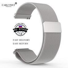 CARLYWET RU STOCK 16 18 20 22 23mm Black Silver Rose Gold Blue Mesh Milanese Magnetic Closure Replacement Wrist Watch Band Strap