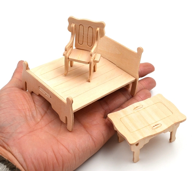 Wood Model Furniture Miniature Set (34 pcs)
