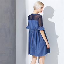 20017 summer high quality casual denim dress for women patchwork mesh sofe loose jean dress blue half sleeve o-neck plus size xl
