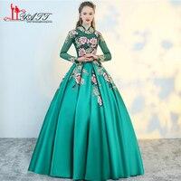 Liyatt 2018 New Teal Xanh Evening Formal Dresses Ren Đính Cườm 3D Floral Flowers Tầng Length Satin Dài Prom Dress Đảng Gown