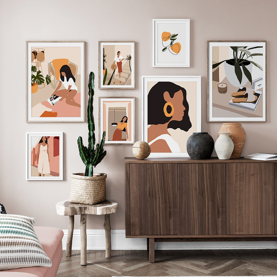 Abstract Fashion Vintage Girl Minimalist Wall Art Canvas Painting Nordic Posters And Prints Wall Pictures For Living Room Decor