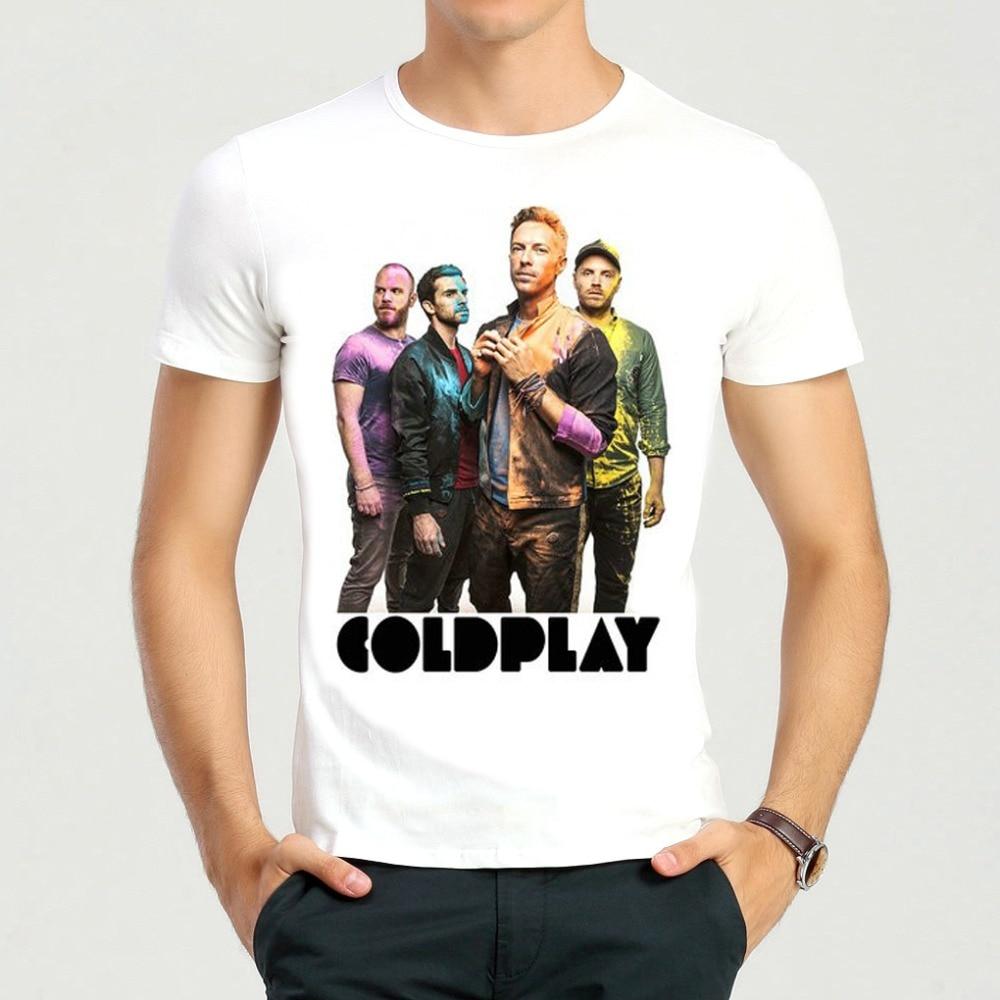 Banda de Rock Coldplay Coldplay Camiseta Cor Branca de Manga Curta T-shirt  Impressão Top T-shirt T-shirt Das Mulheres Dos Homens ece876321df68
